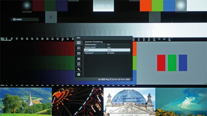 """Automatische HDR-Erkennung: Der VPL-VW550ES wertet die Metadaten entsprechender Bildquellen aus und wechselt auf den Farbraum """"BT.2020"""". Das Info-Menü meldet dabei alle wichtigen Daten zurück."""