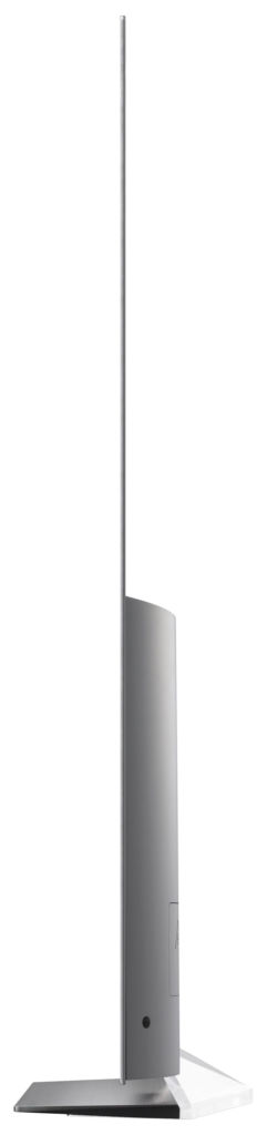 Schlanke Linie: Da OLED-Displays von selbst leuchten und keine Hintergrundbeleuchtung benötigen, sind extrem flache Bauarten möglich. Der Bildschirm des 55B6D ist nur fünf Millimeter dick. Die Technik steckt im unteren Gehäuseteil.