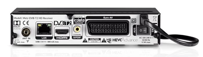 Alles vorhanden: Antennen-Eingang, Ethernet, HDMI-Ausgang, digitaler Audio-Ausgang und Scart. An der Front gibt es zudem einen USB-Anschluss