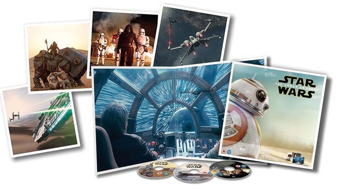 """Die nur in England erhältliche Big-Sleeve-Edition von """"Star Wars: Das Erwachen der Macht"""" kommt in einem 30 x 30 Zentimeter großen Aufklapp-Cover daher und birgt neben den Discs vier Mini-Poster."""