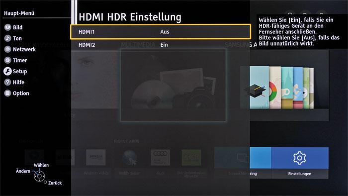 """Verstecktes Hindernis: Die HDMI-Eingänge des DXW 734 müssen über den Menüpunkt """"HDMI HDR Einstellung"""" für die HDR-Wiedergabe freigeschaltet werden."""