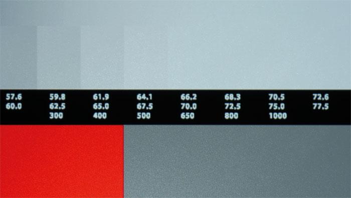 HDR-Inhalte in SDR-Zuspielung: Über Samsungs UHD-Player UBD-K8500 haben wir HDR-Testbilder als SDR-Signal zugespielt. Kontraste oberhalb von 500 Nits clippen, selbst wenn man den Kontrast absenkt.