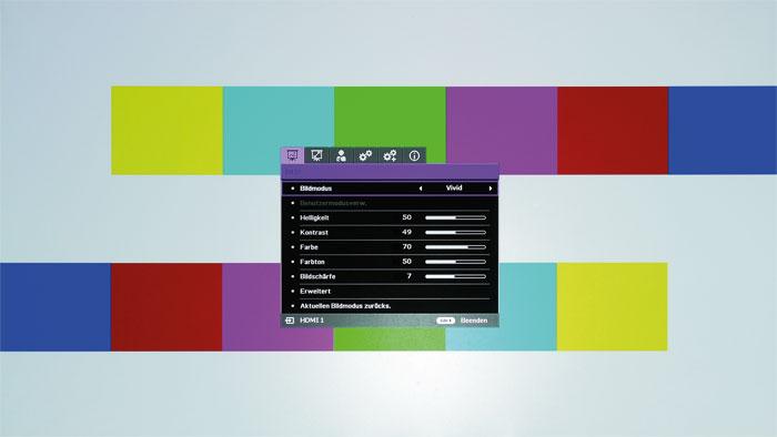 """Lebhaft: Das Preset """"Vivid"""" sorgt für erweiterte Farben und aktiviert die BrilliantColor-Schaltung, welche die Helligkeit von Spitzlichtern leicht erhöht. Ein echter HDR- bzw. DCI-P3-Farbmodus ist aber nicht vorhanden."""