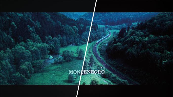 """Dunkleres Schwarz: BenQs dynamische Iris verbessert in der düsteren Montenegro-Szene aus """"Casino Royale"""" den Kontrast sowie die Schwarzdarstellung (Bild rechts)."""