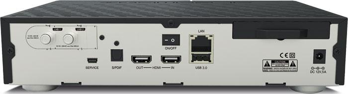 Die Sat-Variante der DM900 ultra HD wird mit einem Twin-Tuner für den Satellitenempfang ausgeliefert.