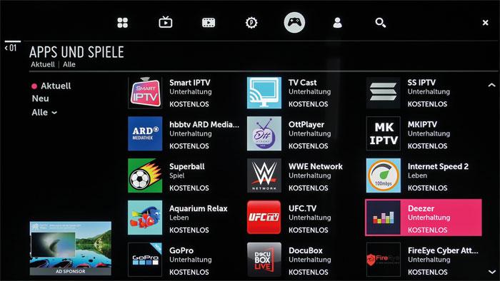 LGs Content Store hält zahlreiche Apps zum Download bereit. Die Auswahl an UHD-Streaming-Diensten beschränkt sich momentan auf Netflix und Amazon Video.