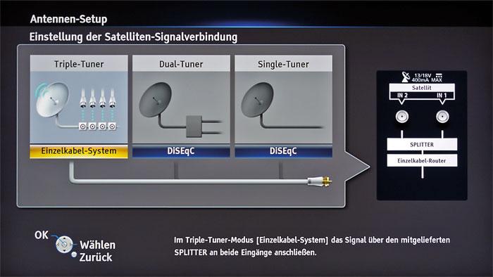 Eins, zwei oder drei: Der Triple-Tuner des Panasonic DMR-UBS90 unterstützt mehrere Anschlussvarianten – via Unicable empfängt er bis zu drei Sender gleichzeitig.