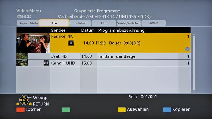 Aufnahmen ohne Qualitätsverlust: Der Panasonic-Recorder schneidet die TV-Programme grundsätzlich in Originalqualität (DR) mit, auch die Ultra-HD-Sender.