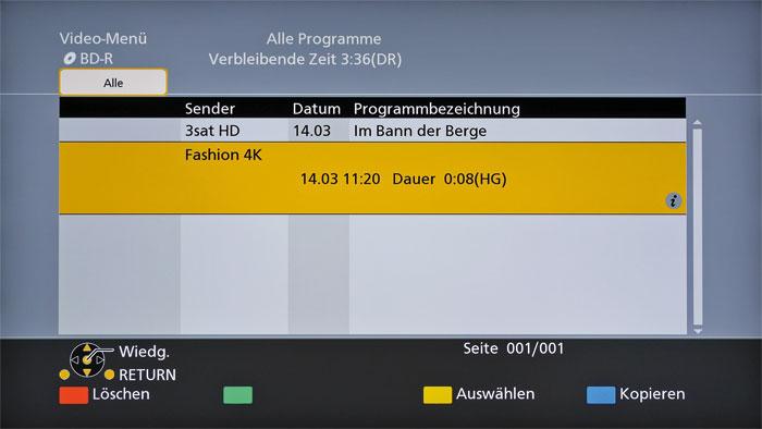 Kein Exportschlager: Während sich HD-Aufnahmen verlustfrei exportieren lassen, werden UHD-Mitschnitte in reduzierter Auflösung (HG) konvertiert und gebrannt.