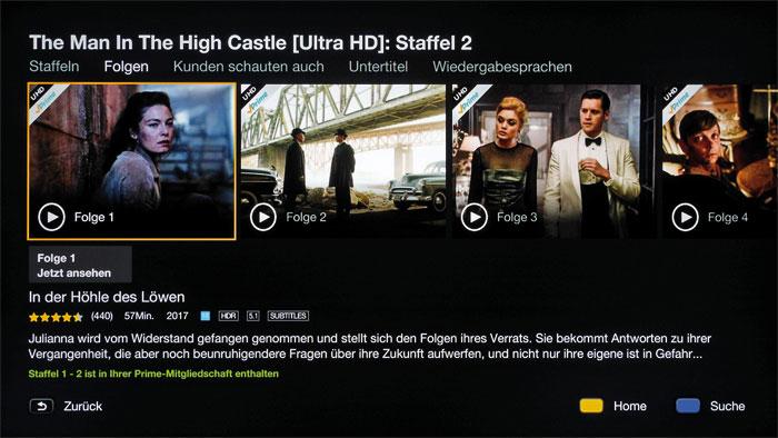 Online-Videotheken: Neben Netflix ist Amazon Video der zweite Streaming-Dienst für Filme und Serien in UHD-Qualität, teilweise sogar in High Dynamic Range.