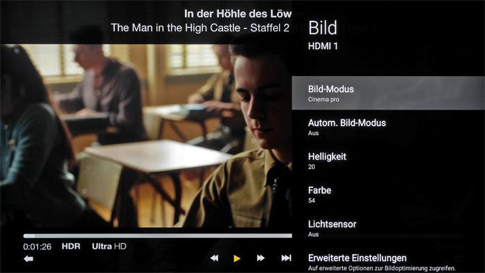 HDR à la Amazon: Trotz eindeutiger Kennzeichnung meldet der am Recorder angeschlossene Fernseher Sony KD-55XE9305 (Seite 56) keine HDR-Wiedergabe zurück.
