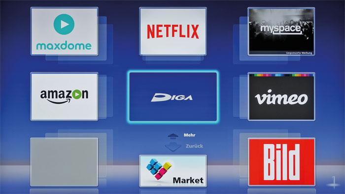 Vorinstalliert: Der Panasonic bringt ab Werk eine Reihe von Internetdiensten und einen Web-Browser mit.