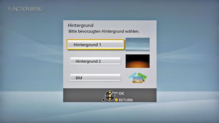 Aufpoliert: Bei der Benutzeroberfläche des Panasonic DMR-UBS90 kann man zwischen zwei fertigen Designs wählen oder ein eigenes Bild als Hintergrund festlegen.