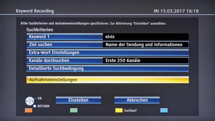 Keyword Recording: Die neue Funktion sucht das TV-Programm nach eigenen Schlagwörtern ab und schneidet passende Sendungen auf Wunsch automatisch mit.
