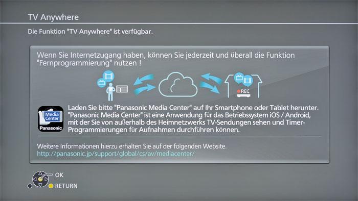 """Vorbildlich erklärt: Mithilfe der App """"Panasonic Media Center"""" kann man von unterwegs aus über das Internet auf den DMR-UBC80 und seine TV-Programme zugreifen."""