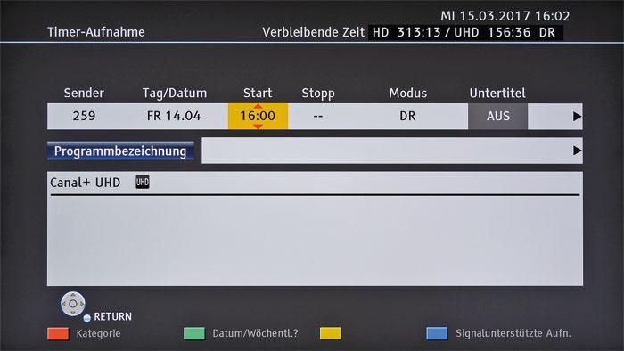 Der Timer lässt sich einen Monat im Voraus programmieren. Oben wird die verbleibende Kapazität angezeigt, sie reicht von ca. 150 (UHD) bis 847 Stunden (SDTV).