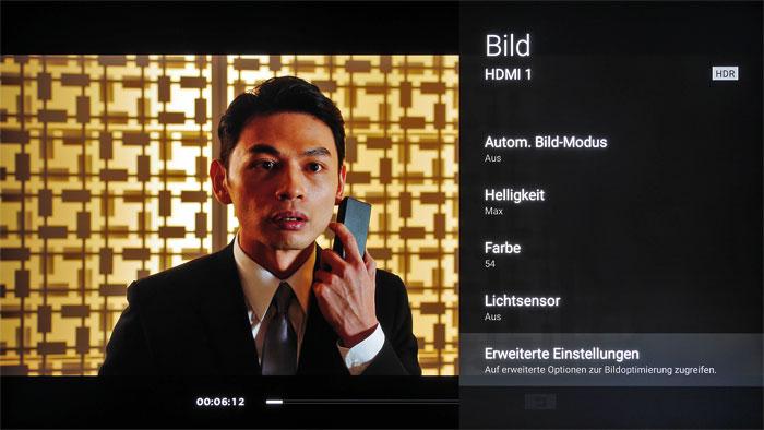 Versteckter Hinweis: Um zu überprüfen, ob sich der Sony XE93 wirklich im HDR-Betrieb befindet, muss man ins Bildmenü wechseln. Spezielle Presets gibt es nicht.