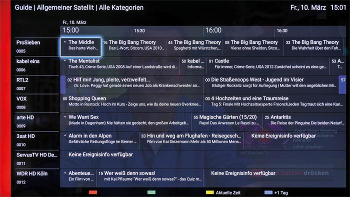 Der Programmführer legt sich transparent über das TV-Bild, was der Übersichtlichkeit nicht wirklich zugutekommt. Die Senderliste ist praxisgerecht vorsortiert.