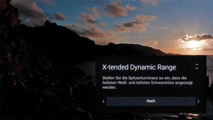 X-tended Dynamic Range (Pro): Die im erweiterten Bildmenü versteckte Funktion steigert die Helligkeit von Spitzlichtern, doch fehlt uns eine feine Gamma-Justage.