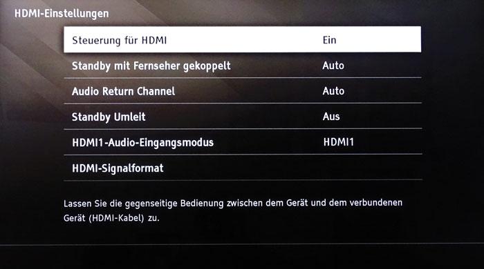 """HDMI-Einstellungen: Soll die Bar automatisch mit dem TV ein- und abschalten, muss man """"Steuerung für HDMI"""" und """"Standby mit den Fernseher gekoppelt"""" aktivieren."""