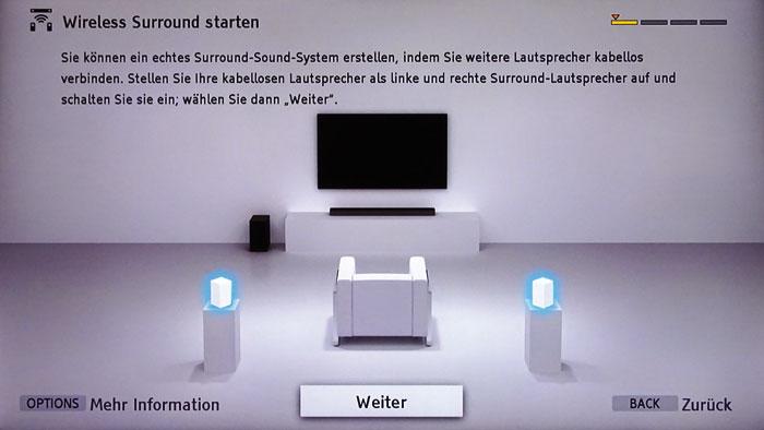 Wireless Surround: Sonys HT-CT790-Soundbar lässt sich um zwei Surround-Boxen erweitern. Bei der Einrichtung hilft ein praktischer Onscreen-Assistent.