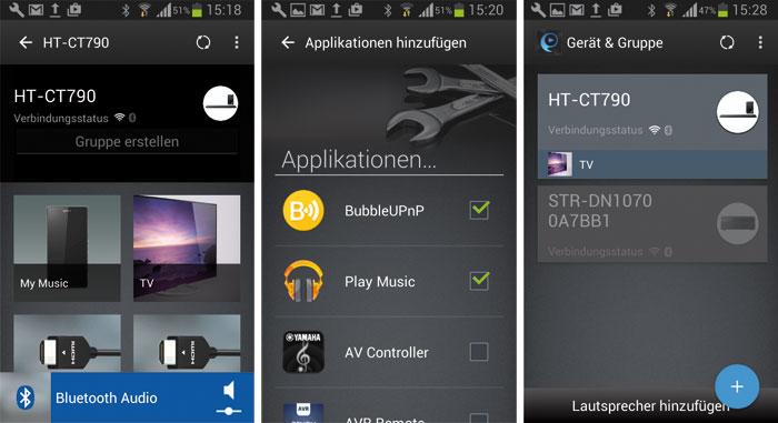 """Die SongPal-App besticht durch ihre hübsche Optik. Über """"Applikationen hinzufügen"""" kann man Software von Drittherstellern in die App einbinden, über """"Gerät und Gruppe"""" lassen sich Geräte miteinander für Multiroom-Anwendungen vernetzen."""