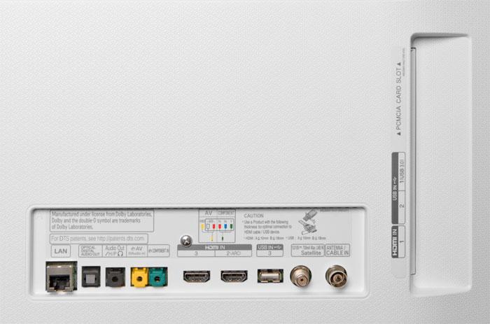 Die üblichen Verdächtigen: Auf der Rückseite des LG 55UH9509 gibt es nur die gewohnte Anschlussvielfalt mit drei HDMI-Ports sowie einem einfachen Universal-Tuner.