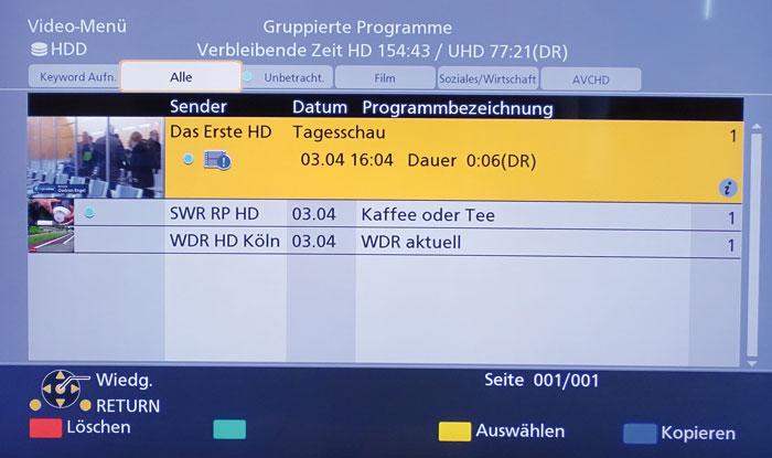 Der Panasonic schneidet die TV-Programme grundsätzlich in Originalqualität (DR) mit.